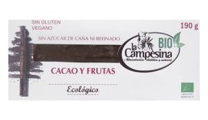 TURRÓN ECOLÓGICO DE CACAO Y FRUTAS DE 190 GR